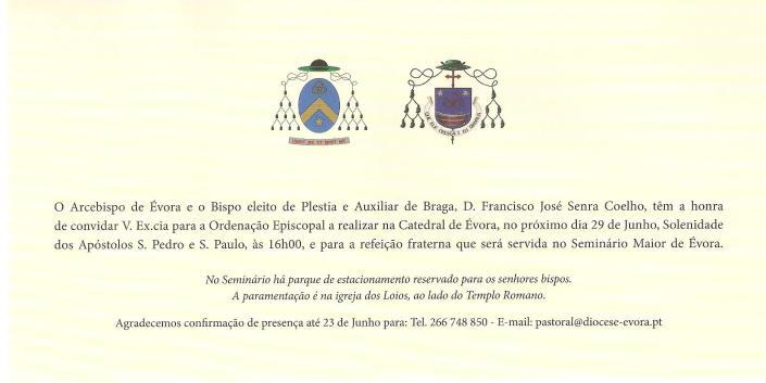 Tekst van de uitnodiging voor het bijwonen van de bisschopswijding in Evora